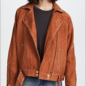 Free People Drapey Suede Moto Leather Jacket M NWT